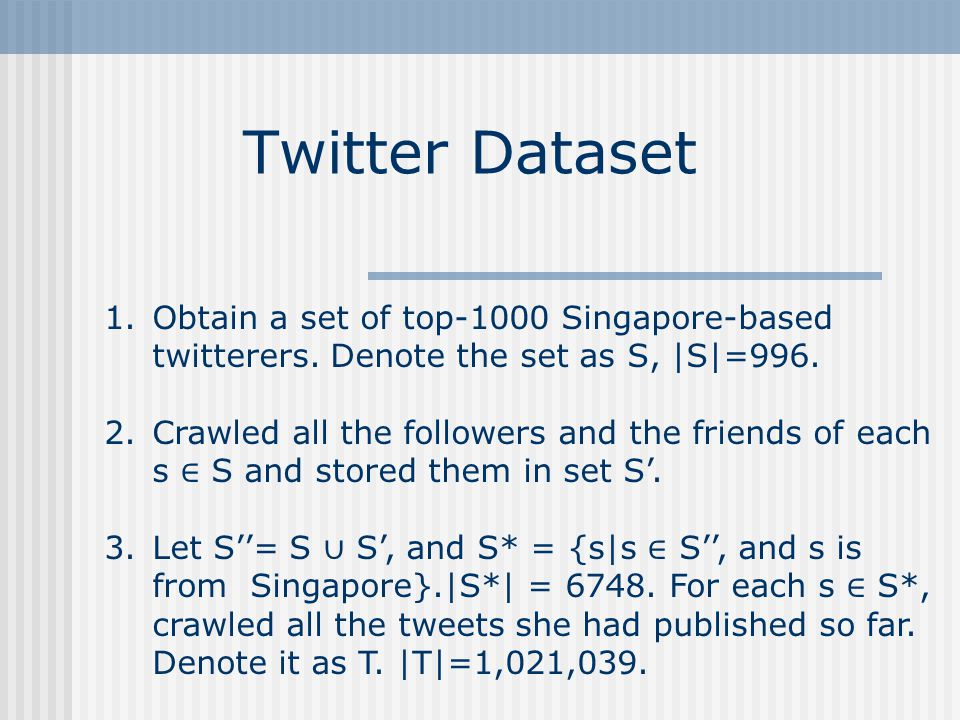 Twitter Dataset 1.Obtain a set of top-1000 Singapore-based twitterers.