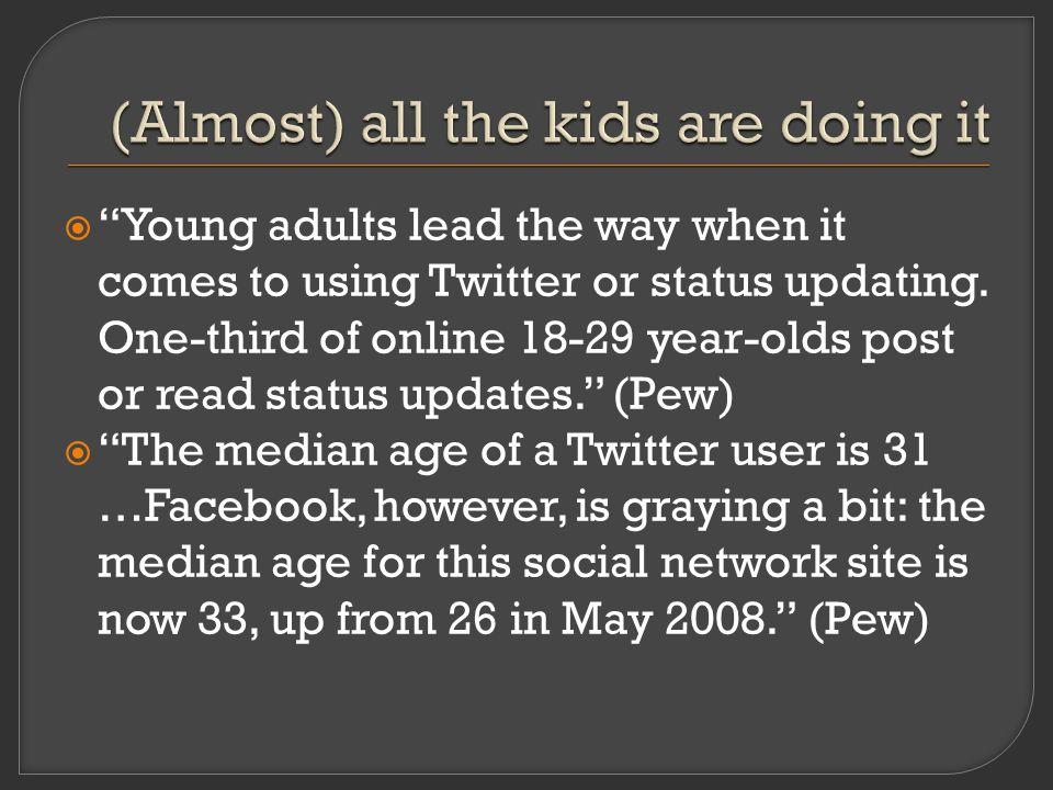  Young adults lead the way when it comes to using Twitter or status updating.