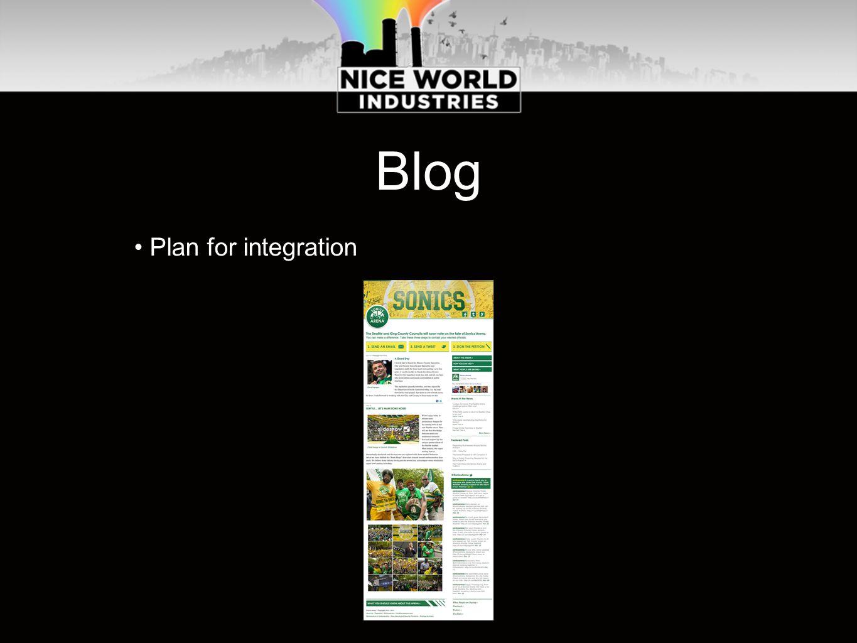 Blog Plan for integration