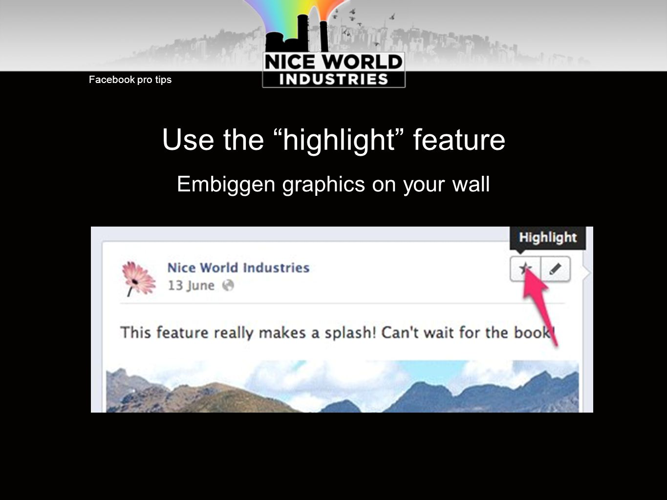 Use the highlight feature Embiggen graphics on your wall