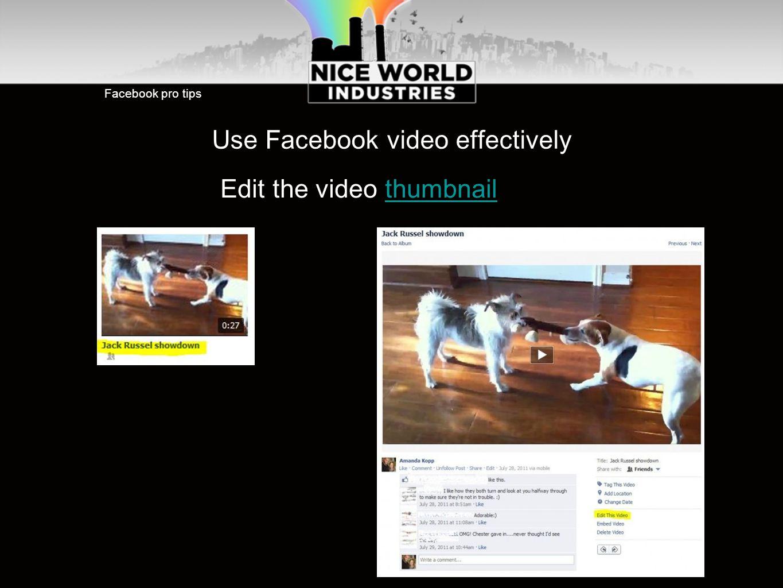 Facebook pro tips Use Facebook video effectively Edit the video thumbnailthumbnail
