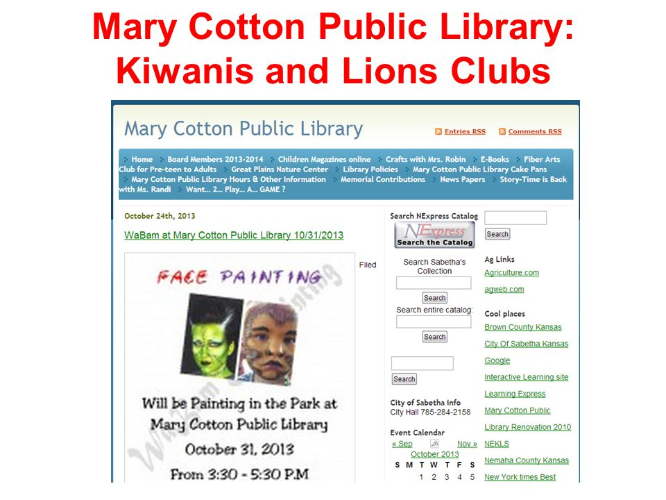 Mary Cotton Public Library: Kiwanis and Lions Clubs