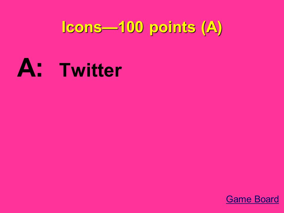 Icons—100 points (A) A: Twitter Game Board