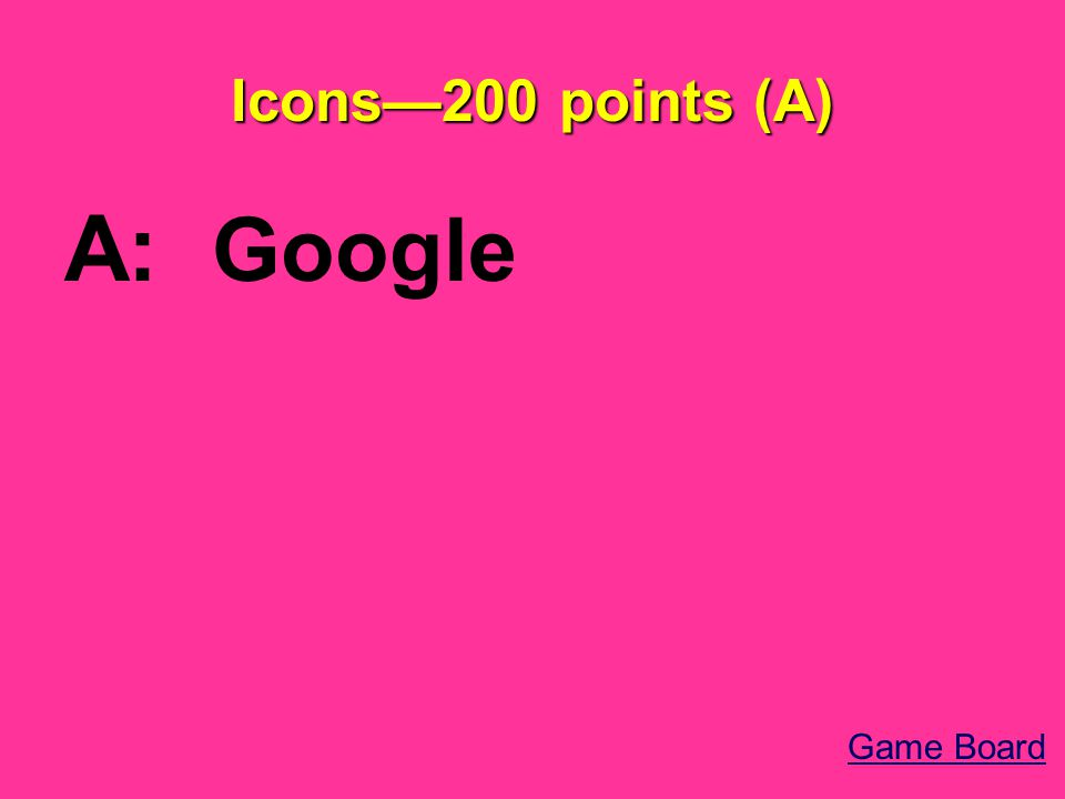 Icons—200 points (A) A: Google Game Board