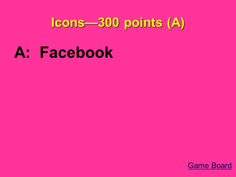 Icons—300 points (A) A: Facebook Game Board
