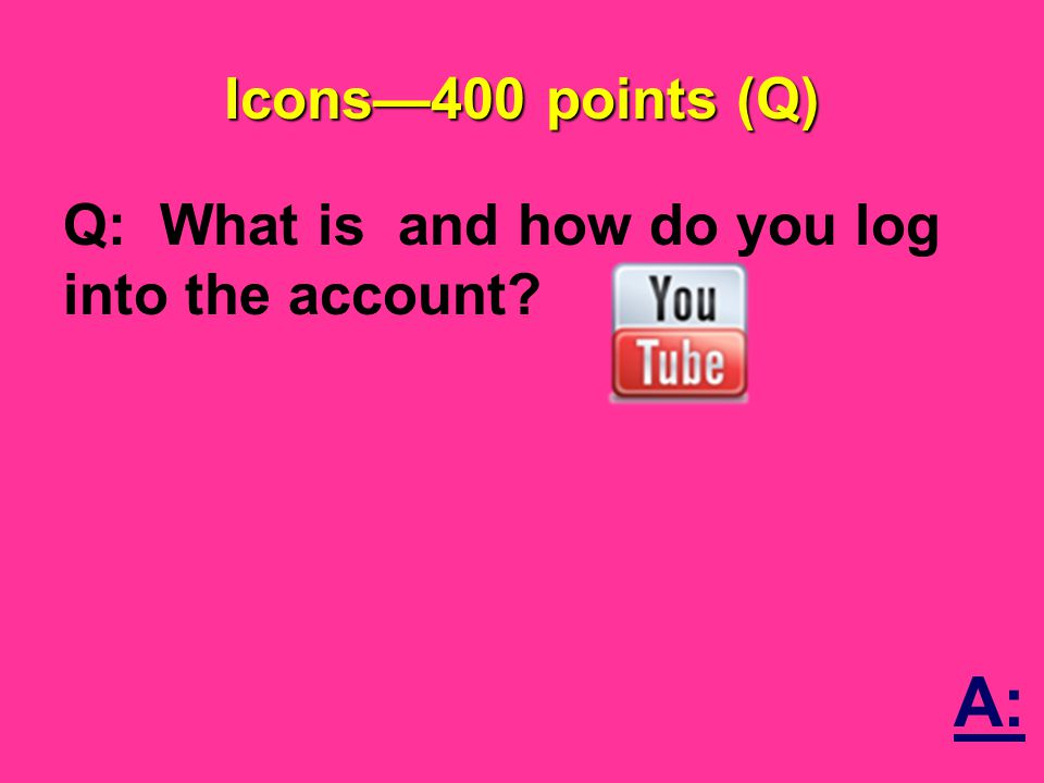 Icons—400 points (Q) Q: What is and how do you log into the account A: