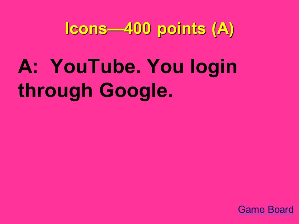 Icons—400 points (A) A: YouTube. You login through Google. Game Board
