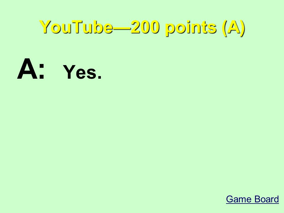 YouTube—200 points (A) A: Yes. Game Board