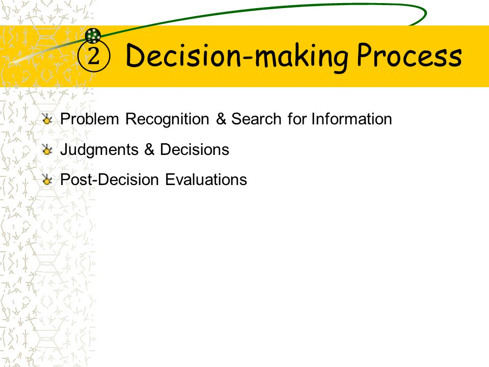 ② Decision-making Process Problem Recognition & Search for Information Judgments & Decisions Post-Decision Evaluations