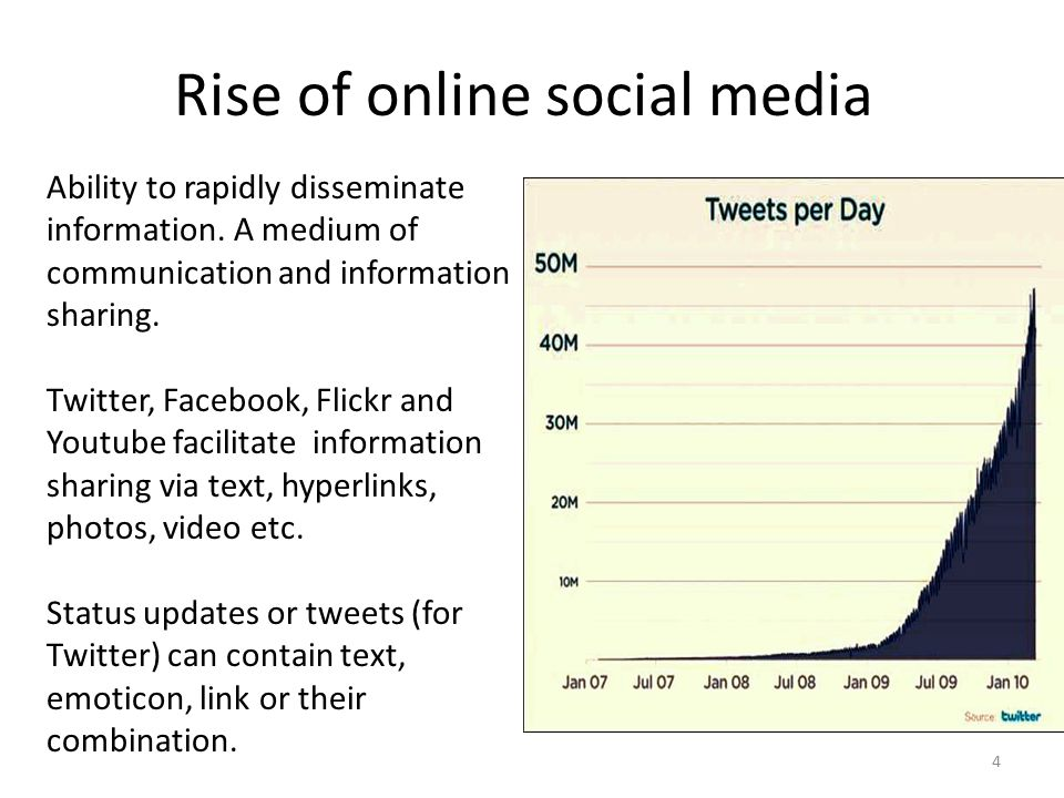 4 Rise of online social media Ability to rapidly disseminate information.