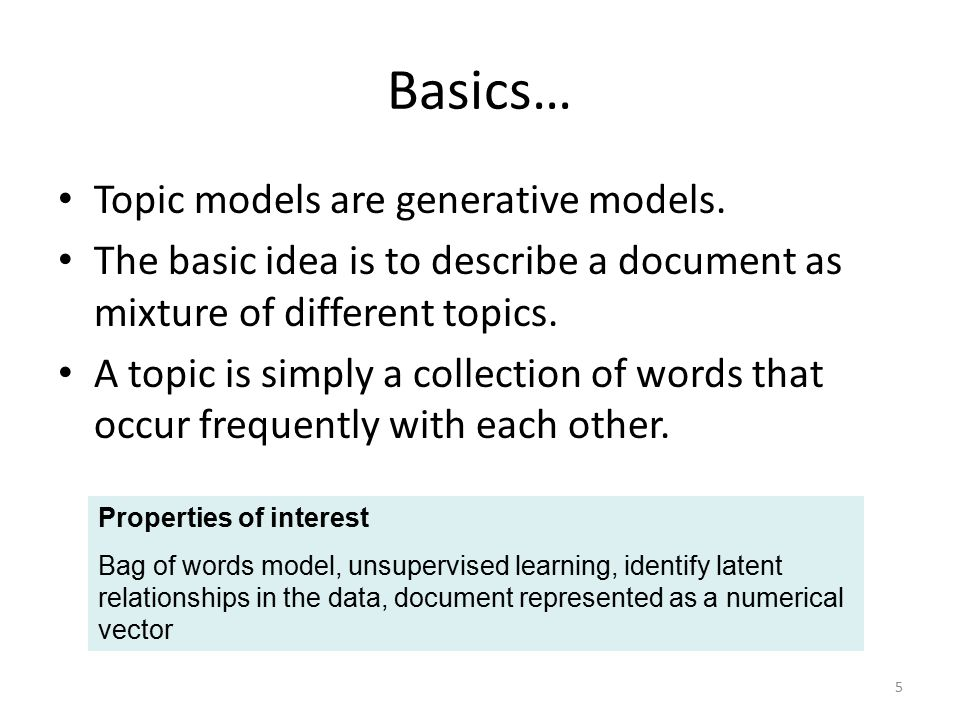 Basics… Topic models are generative models.