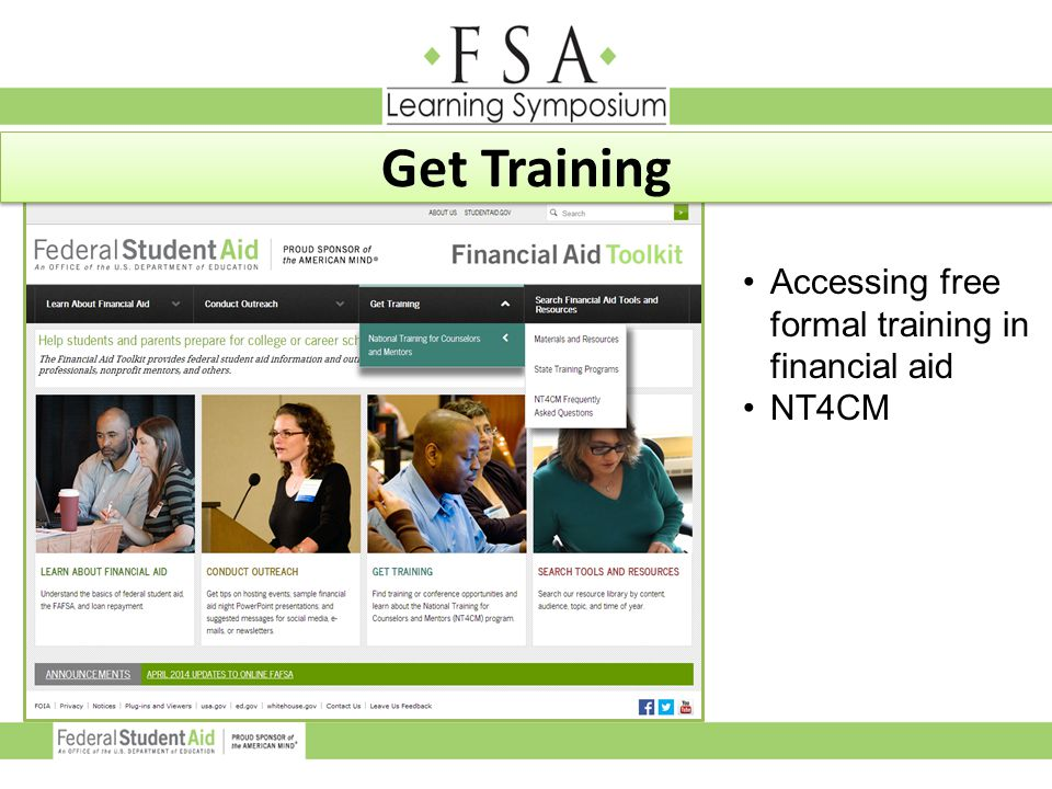 Accessing free formal training in financial aid NT4CM Get Training