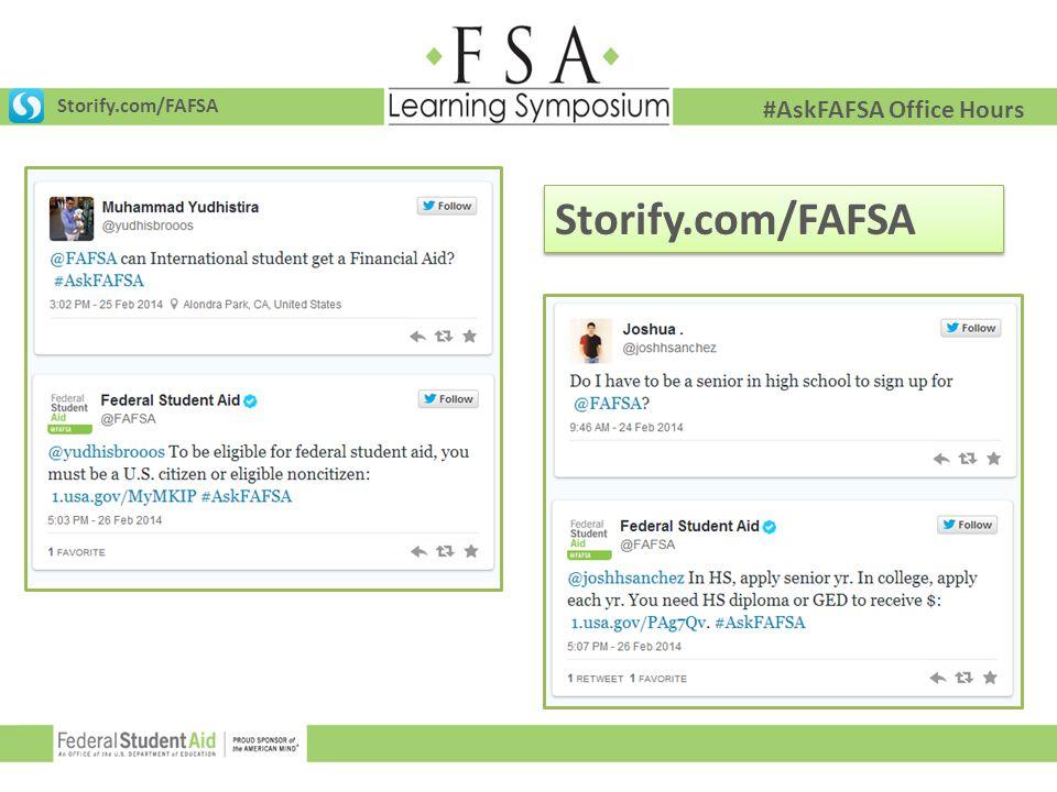 #AskFAFSA Office Hours Storify.com/FAFSA