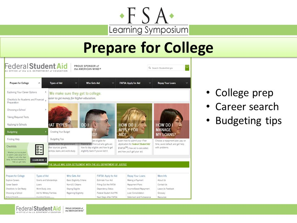 College prep Career search Budgeting tips Prepare for College