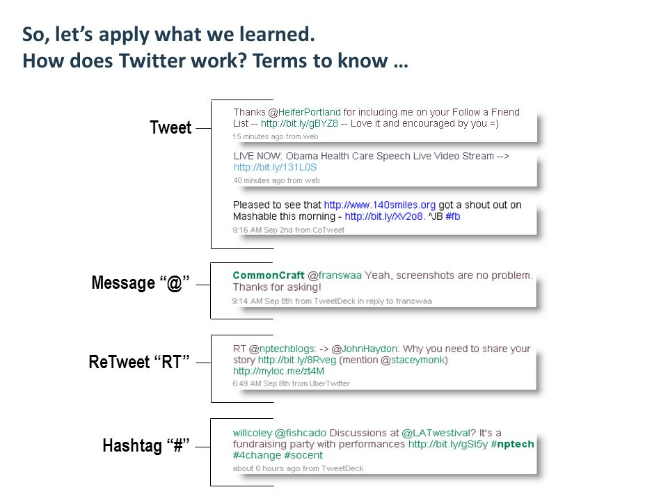 So, let's apply what we learned. How does Twitter work.
