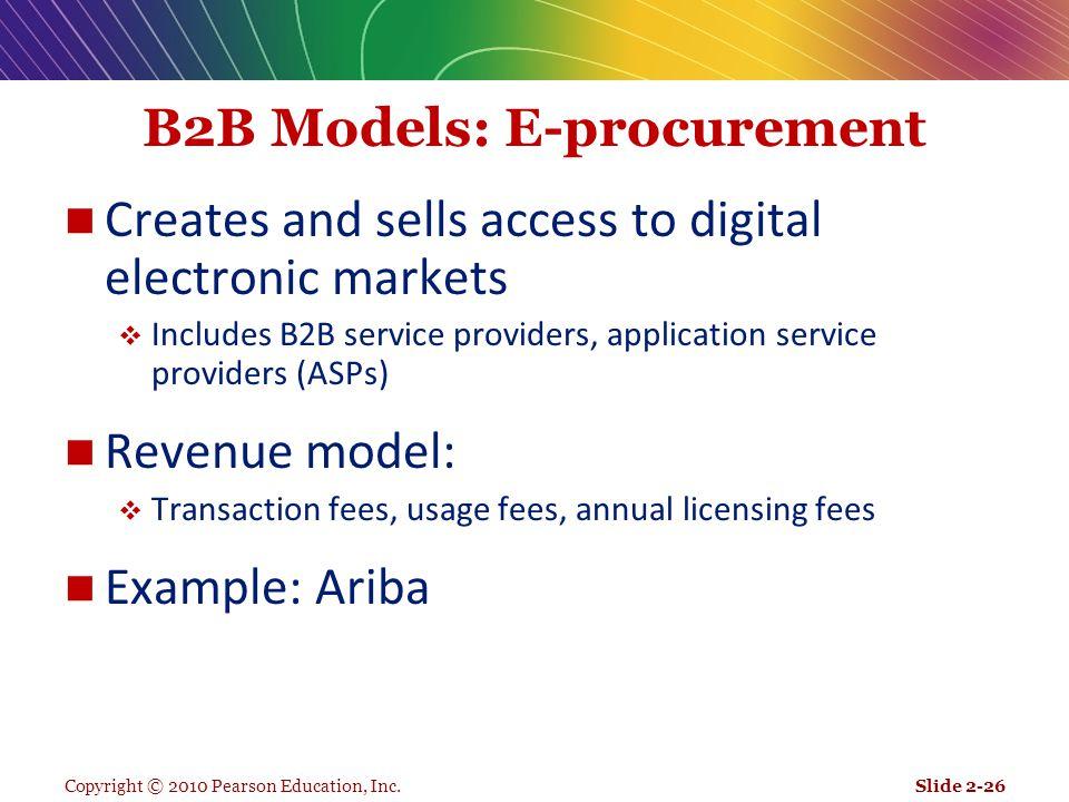 Copyright © 2010 Pearson Education, Inc. B2B Models: E-procurement Creates and sells access to digital electronic markets  Includes B2B service provi