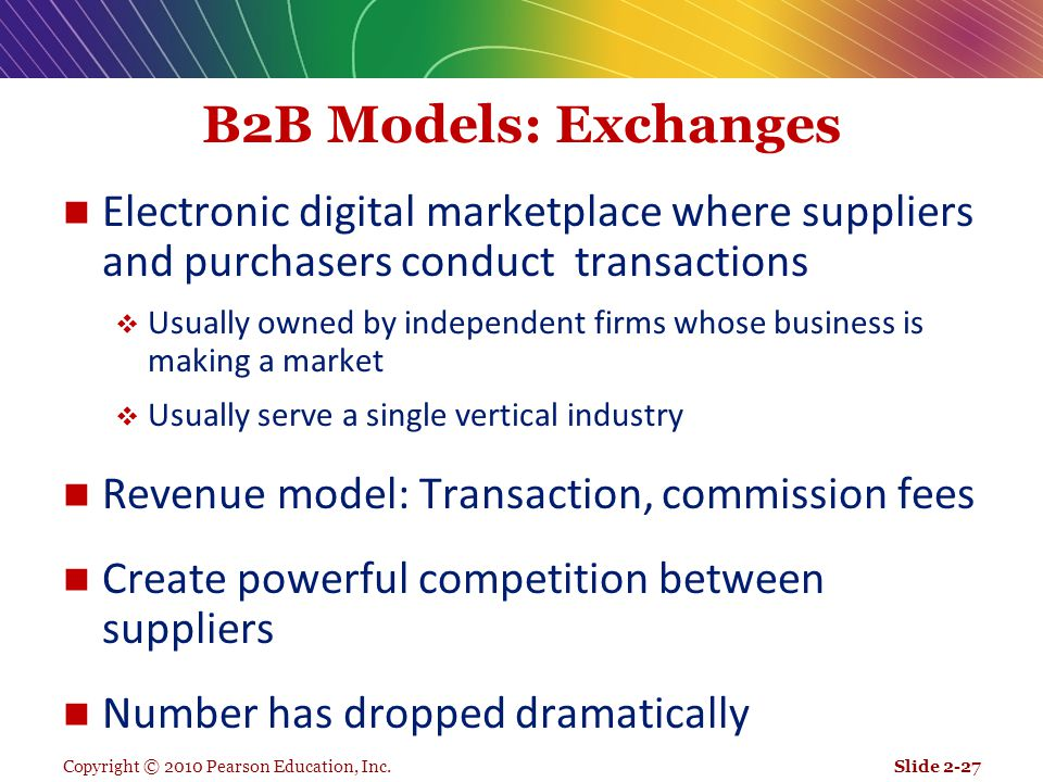 Copyright © 2010 Pearson Education, Inc. B2B Models: Exchanges Electronic digital marketplace where suppliers and purchasers conduct transactions  Us