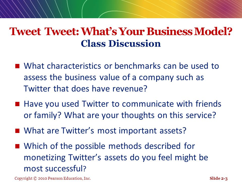 Copyright © 2010 Pearson Education, Inc. Tweet Tweet: What's Your Business Model? Class Discussion What characteristics or benchmarks can be used to a