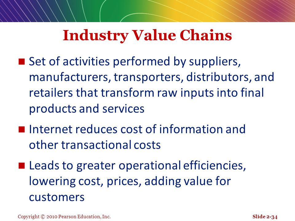 Copyright © 2010 Pearson Education, Inc. Industry Value Chains Set of activities performed by suppliers, manufacturers, transporters, distributors, an