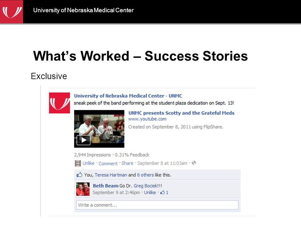 What's Worked – Success Stories Exclusive University of Nebraska Medical Center
