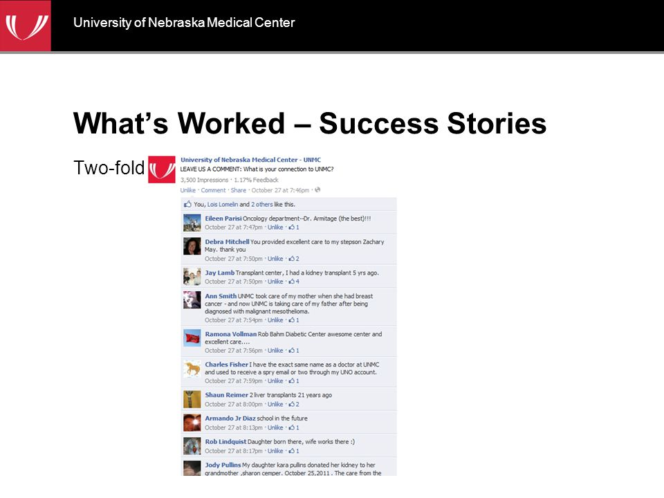 What's Worked – Success Stories Two-fold University of Nebraska Medical Center