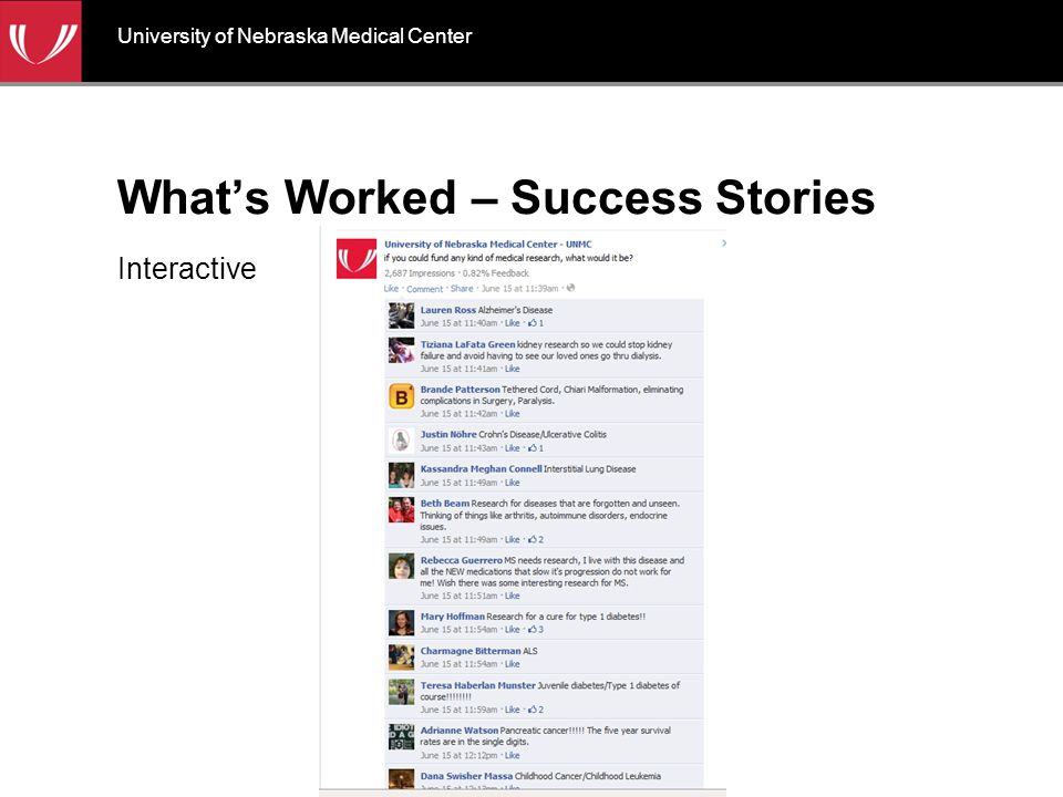 What's Worked – Success Stories Mission-based University of Nebraska Medical Center
