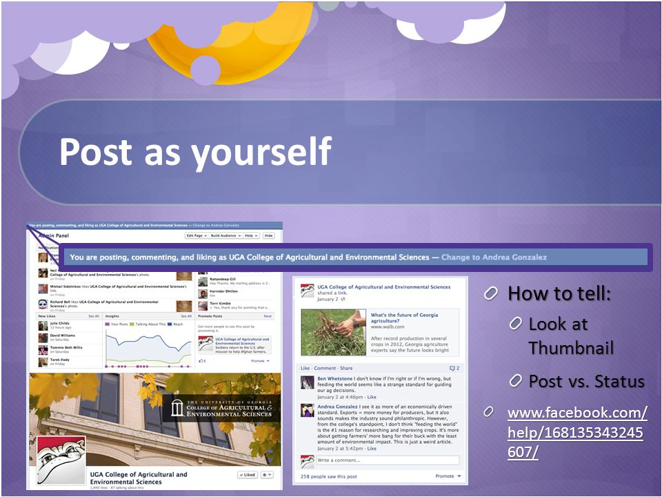 Post as yourself How to tell: Look at Thumbnail Post vs.