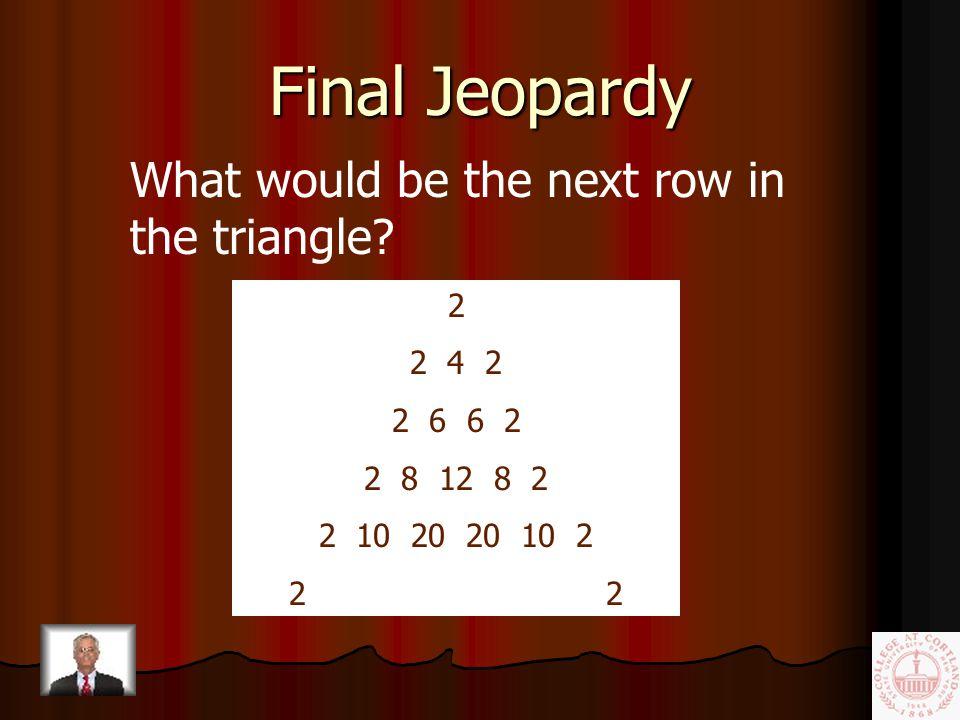 Final Jeopardy Category MATH