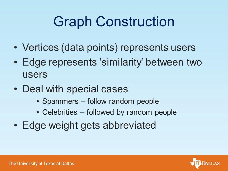 Graph Construction Vertices (data points) represents users Edge represents 'similarity' between two users Deal with special cases Spammers – follow ra