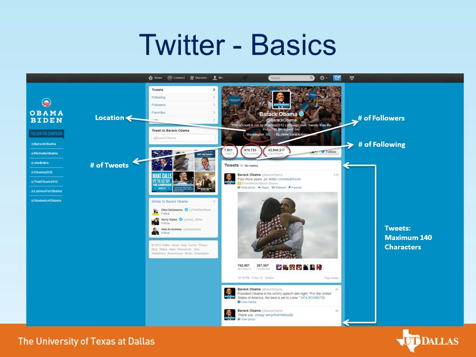 Twitter - Basics Tweets: Maximum 140 Characters # of Tweets # of Following # of Followers Location