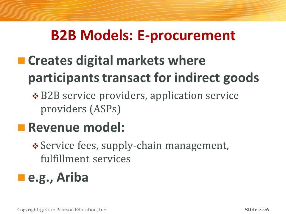B2B Models: E-procurement Creates digital markets where participants transact for indirect goods  B2B service providers, application service provider