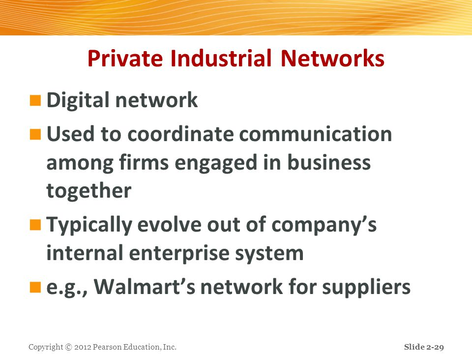 Private Industrial Networks Digital network Used to coordinate communication among firms engaged in business together Typically evolve out of company'