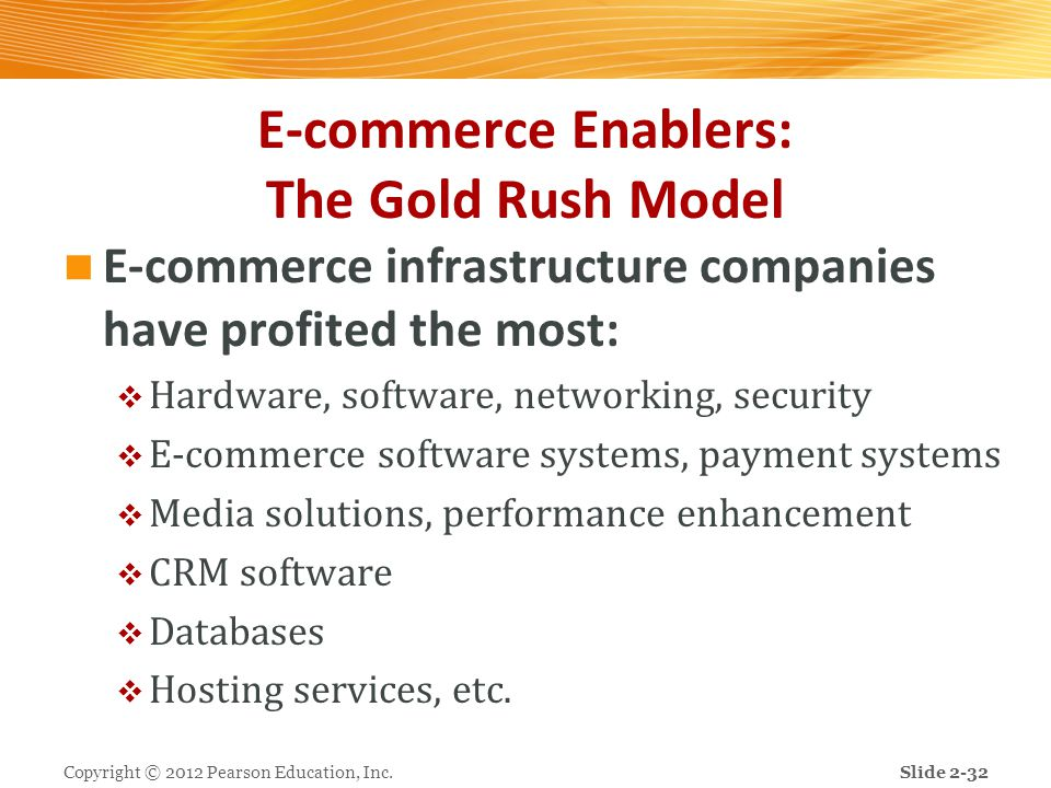 E-commerce Enablers: The Gold Rush Model E-commerce infrastructure companies have profited the most:  Hardware, software, networking, security  E-co