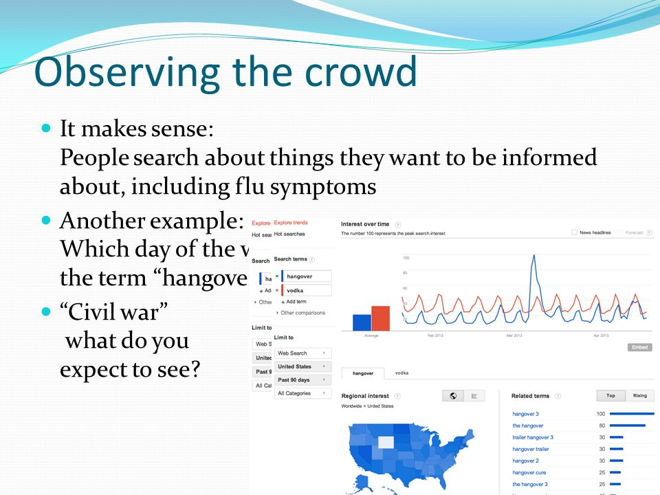 Observing the crowd It makes sense: People search about things they want to be informed about, including flu symptoms Another example: Which day of the week there are the most queries with the term hangover in.