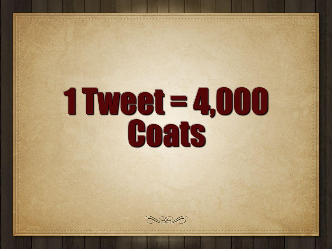 1 Tweet = 4,000 Coats