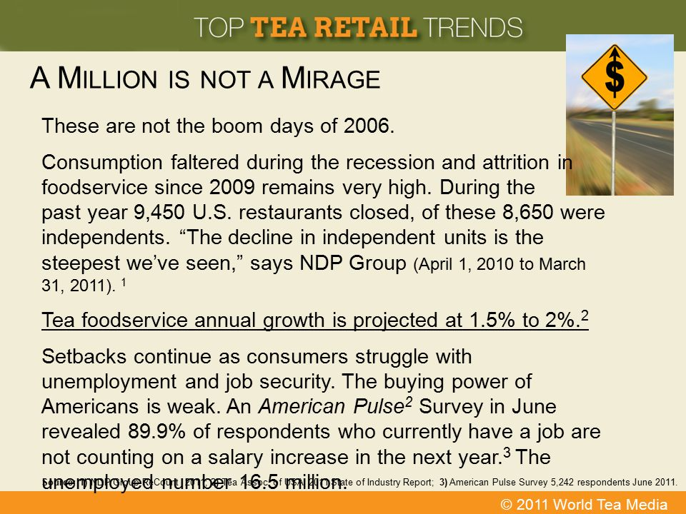 © 2011 World Tea Media A M ILLION IS NOT A M IRAGE Source: 1) NDP Group ReCount 2011; 2) Tea Assoc. of USA 2011 State of Industry Report; 3) American