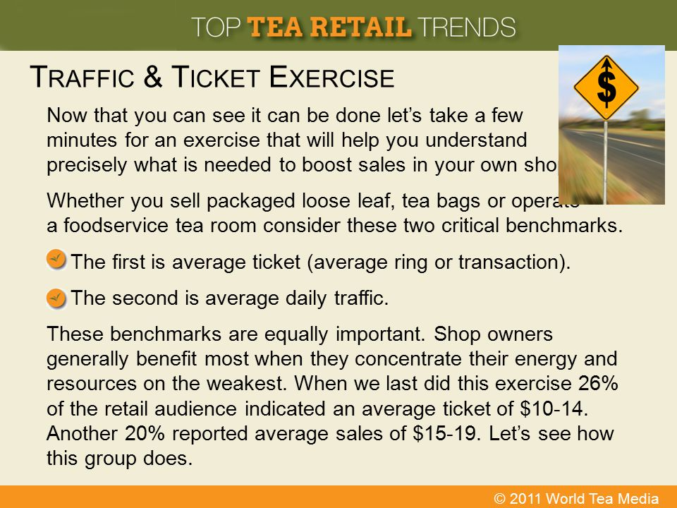 © 2011 World Tea Media T RAFFIC & T ICKET E XERCISE Now that you can see it can be done let's take a few minutes for an exercise that will help you un