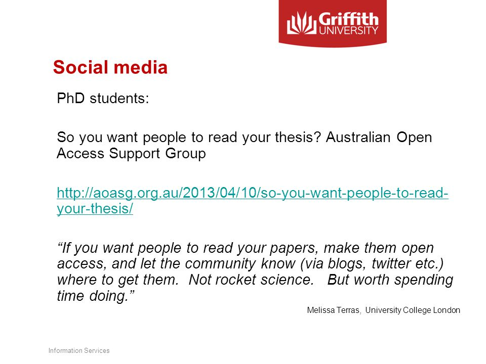 Social media PhD students: So you want people to read your thesis.