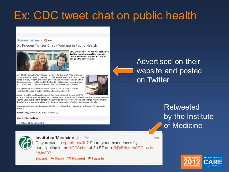 Ex: CDC tweet chat on public health Advertised on their website and posted on Twitter Retweeted by the Institute of Medicine