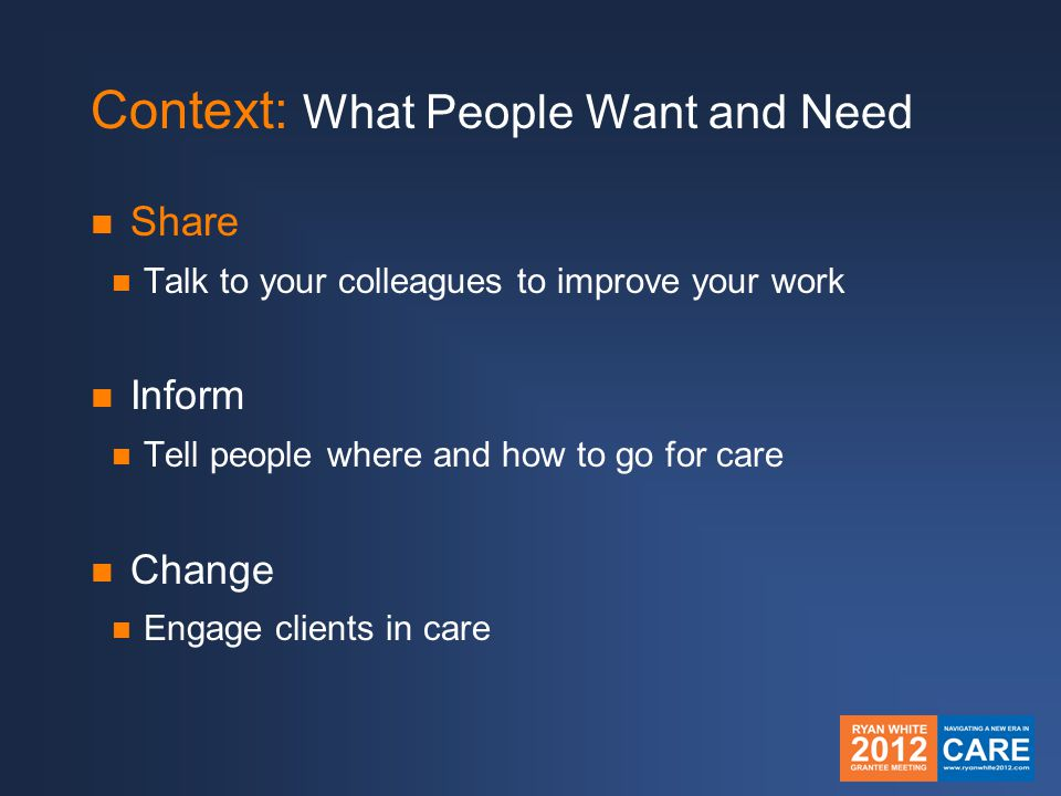 Context: What People Want and Need Share Talk to your colleagues to improve your work Inform Tell people where and how to go for care Change Engage clients in care
