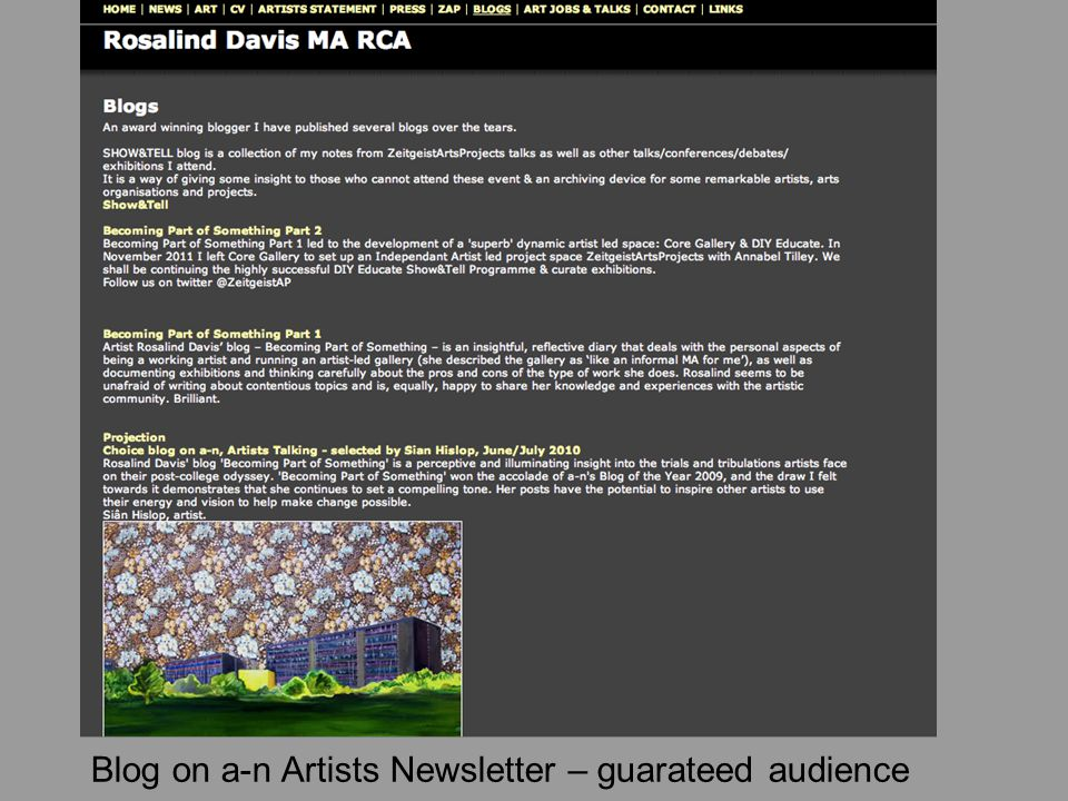 Blog on a-n Artists Newsletter – guarateed audience