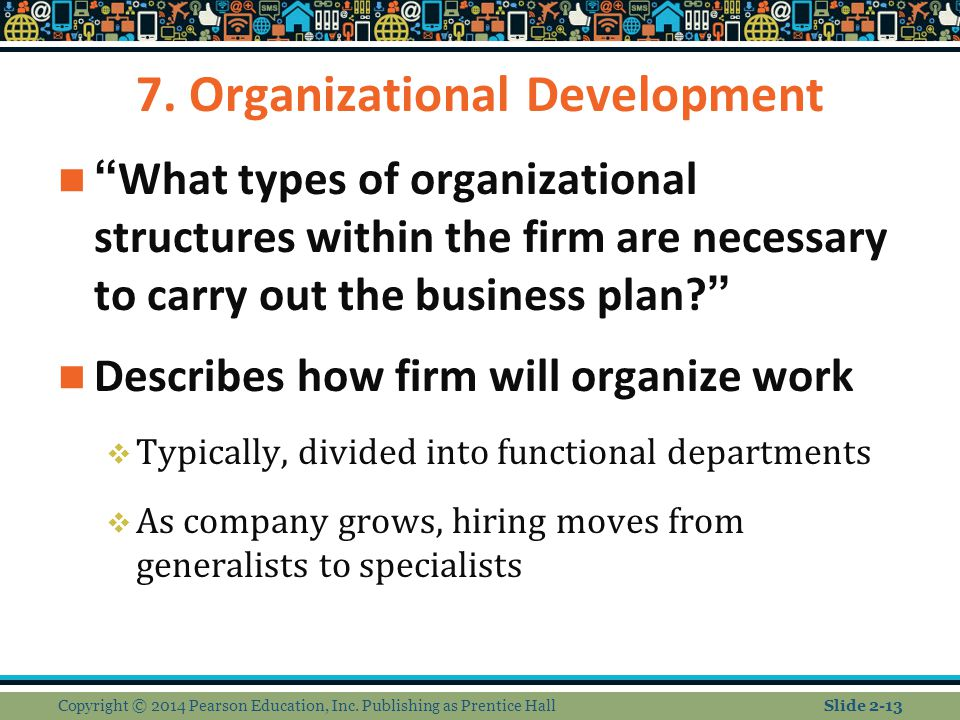 "7. Organizational Development ""What types of organizational structures within the firm are necessary to carry out the business plan?"" Describes how fi"
