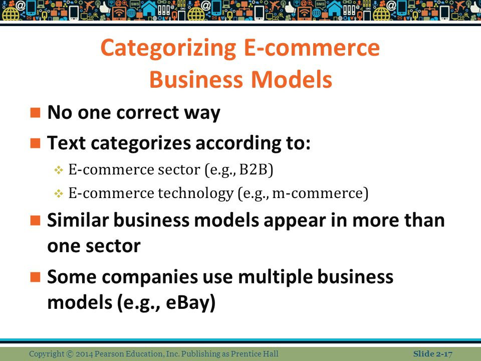 Categorizing E-commerce Business Models No one correct way Text categorizes according to:  E-commerce sector (e.g., B2B)  E-commerce technology (e.g