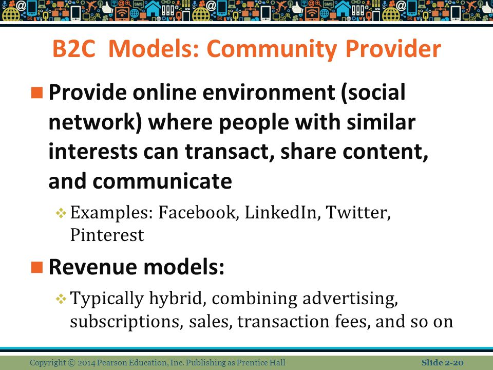 B2C Models: Community Provider Provide online environment (social network) where people with similar interests can transact, share content, and commun