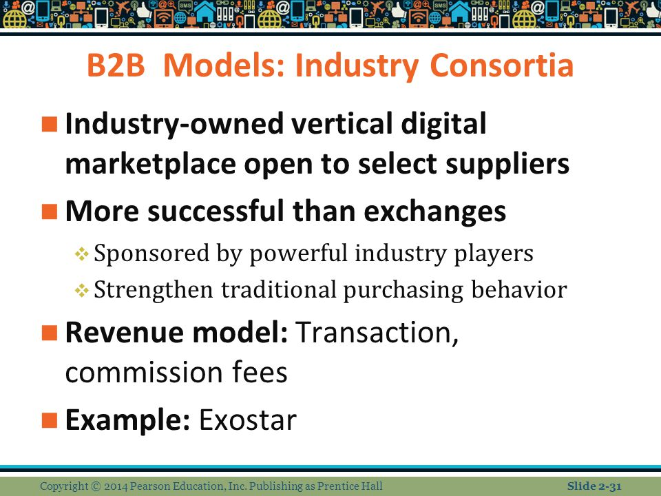 B2B Models: Industry Consortia Industry-owned vertical digital marketplace open to select suppliers More successful than exchanges  Sponsored by powe