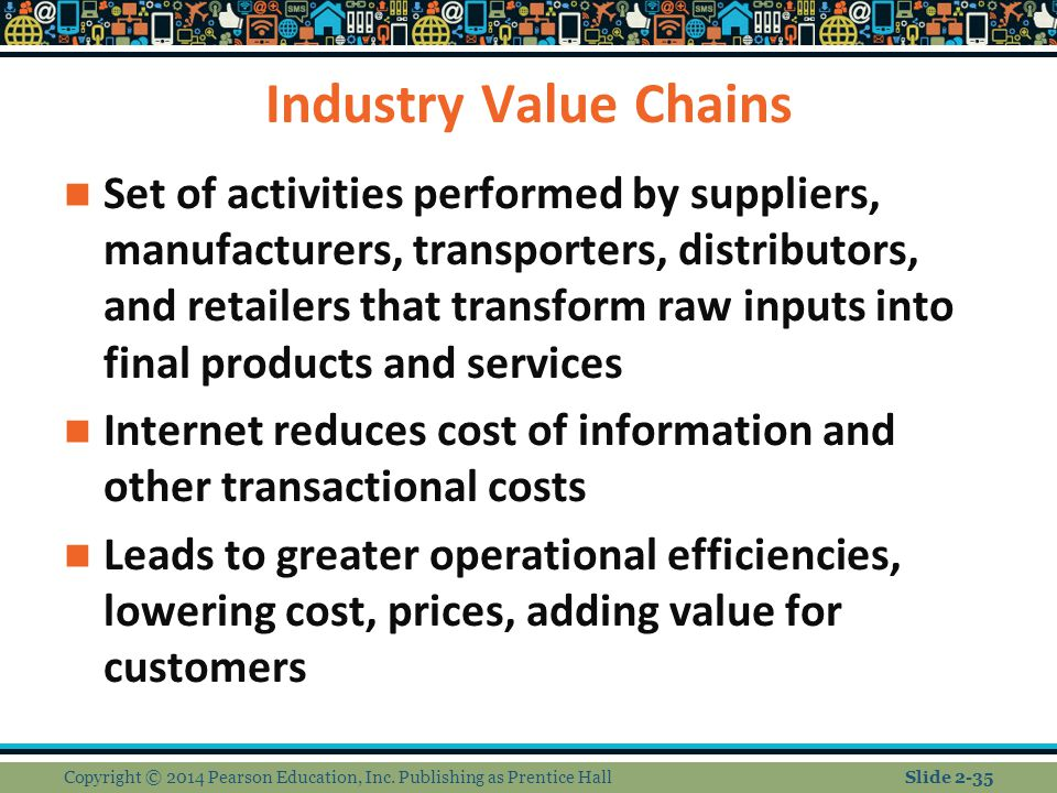Industry Value Chains Set of activities performed by suppliers, manufacturers, transporters, distributors, and retailers that transform raw inputs int