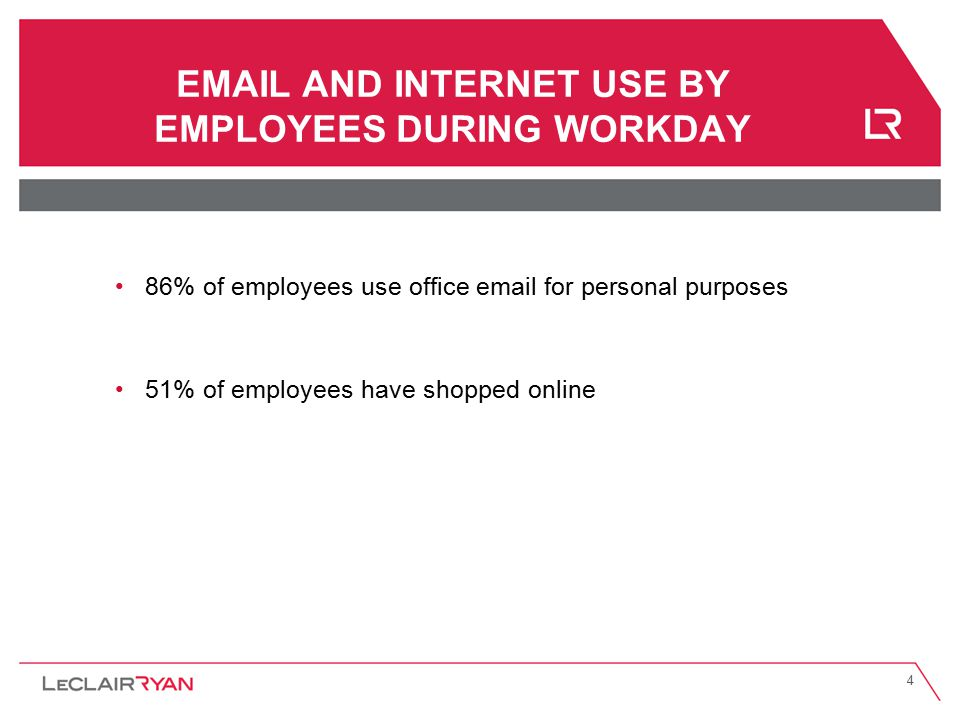4 EMAIL AND INTERNET USE BY EMPLOYEES DURING WORKDAY 86% of employees use office email for personal purposes 51% of employees have shopped online