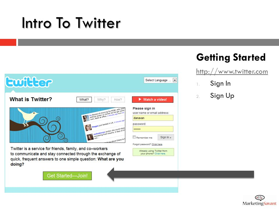 Intro To Twitter Getting Started http://www.twitter.com 1. Sign In 2. Sign Up