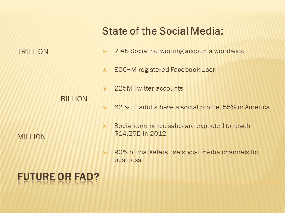 TRILLION BILLION MILLION State of the Social Media:  2.4B Social networking accounts worldwide  800+M registered Facebook User  225M Twitter accounts  62 % of adults have a social profile, 55% in America  Social commerce sales are expected to reach $14.25B in 2012  90% of marketers use social media channels for business