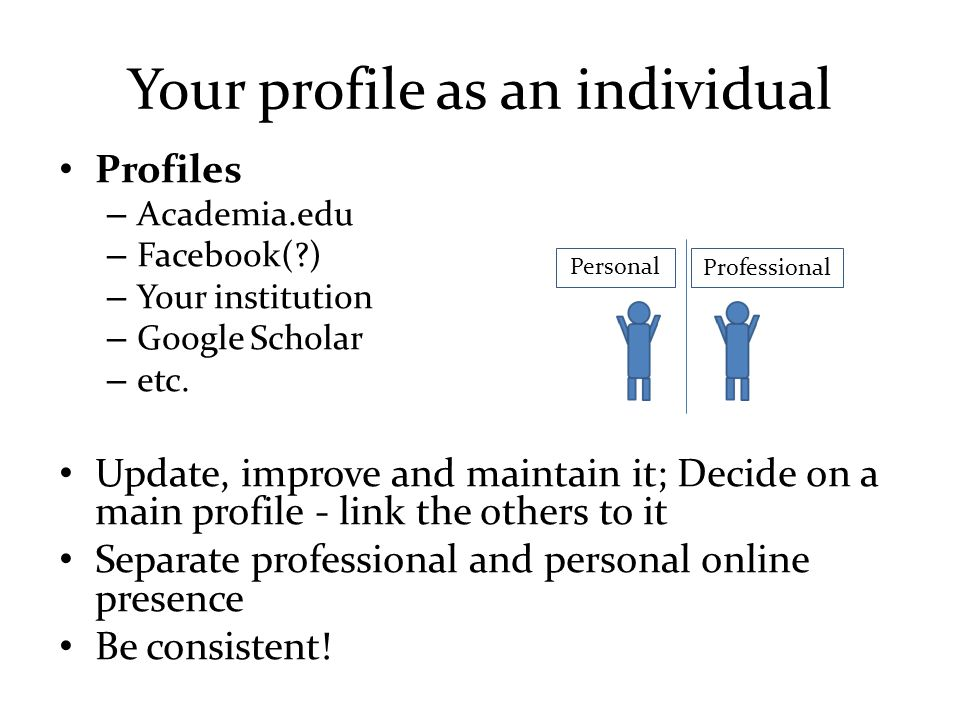 Your profile as an individual Profiles – Academia.edu – Facebook( ) – Your institution – Google Scholar – etc.